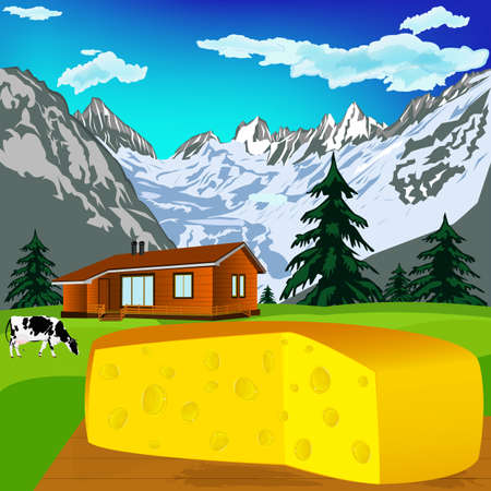 swiss alps: Natural swiss dairy cheese with alps mountains meadow Stock Photo