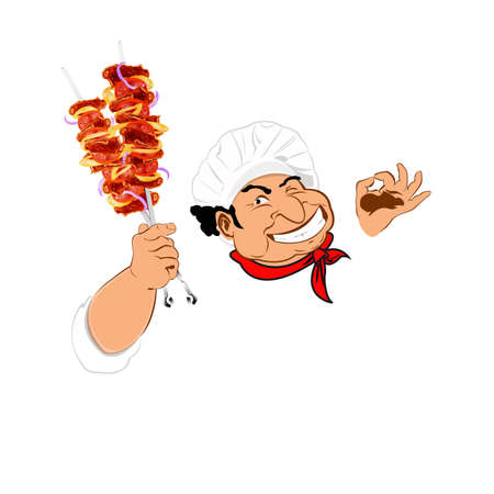 Funny Chef and delicious hot skewers of lamb Vector