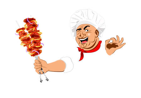 Funny Chef and delicious hot skewers of lamb photo