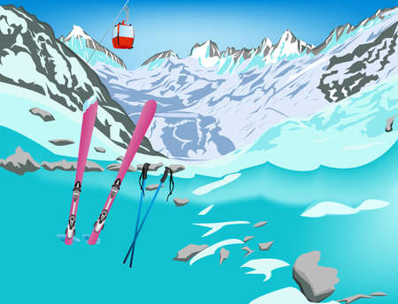 Winter sports ski rest in Alpine resorts Vector