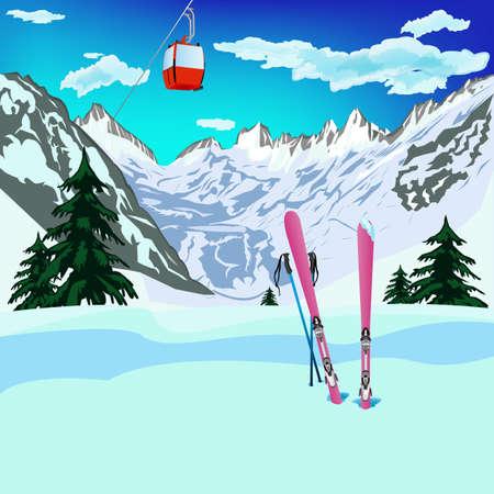 Winter sports ski rest in Alpine resorts Vector