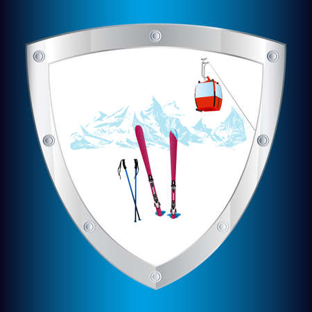 swiss alps: Safety on the mountain winter sports skiing tourist resorts Emblem Stock Photo