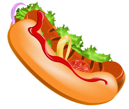junk food fast food: Delicious hot dog on a white background Vector Illustration