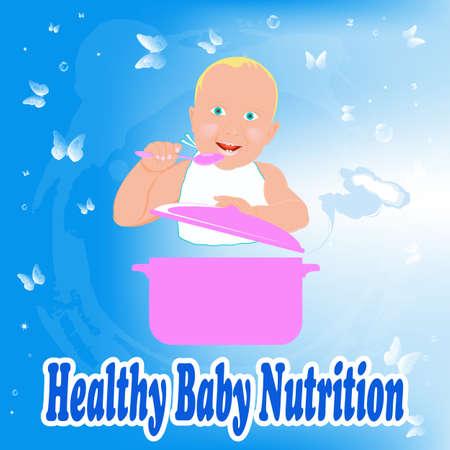 퓌레: 아기를위한 건강한 영양 식품 일러스트