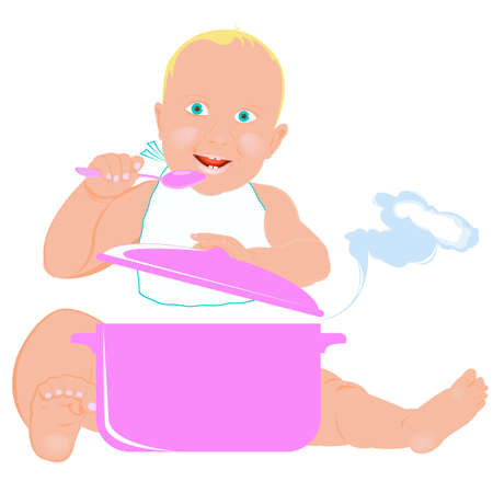 Healthy nutrition food for baby  Vector