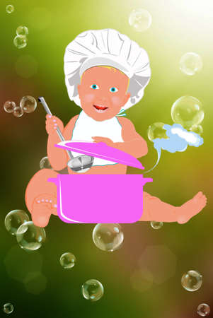 puree: Chef Child on a abstract background Healthy nutrition food for baby