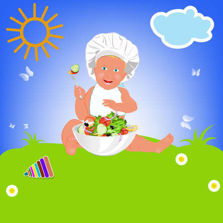 Chef Child and fresh vegetable salad Healthy vegetable nutrition  Vector
