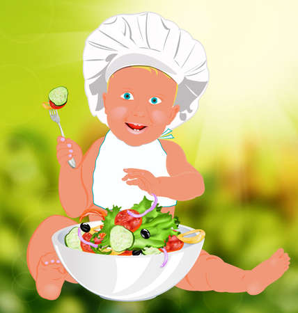 Chef Child and fresh vegetable salad Stock Photo - 18436110