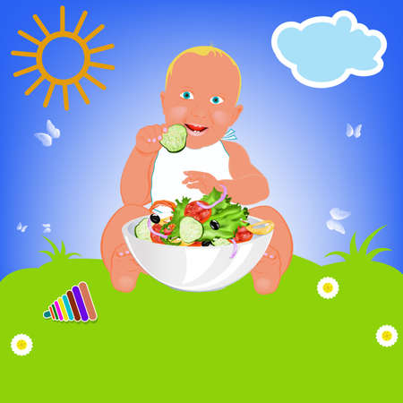Child and fresh vegetable salad on a green summer meadow photo