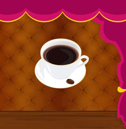 Fresh Coffee on a abstract interior restaurant Vector Vector