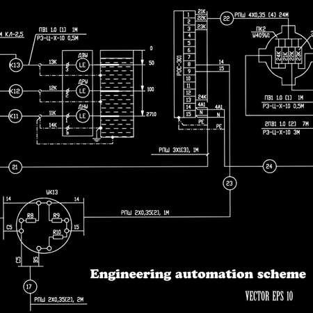 basic scheme: Engineering design automation scheme on a black background Vector