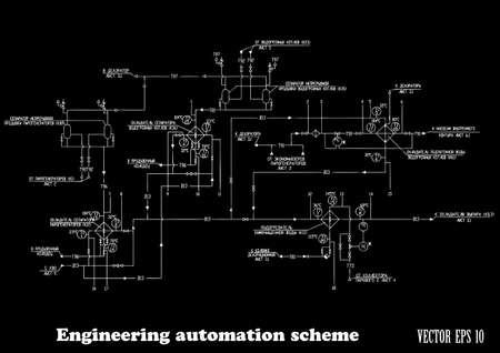 engineering design: Engineering design automation scheme on a black background Vector