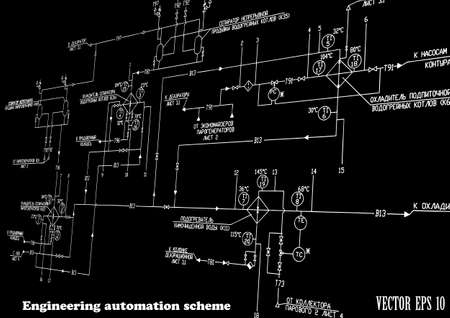 Engineering design automation scheme on a black background Vector Stock Vector - 18519418