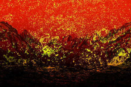 Eruption of the volcano Landscape Abstract dark background photo