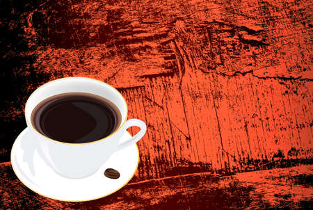 Morning black Coffee on a dark abstract wooden texture   Vector