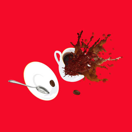 glace: Coffee cup on a red background Restaurant business