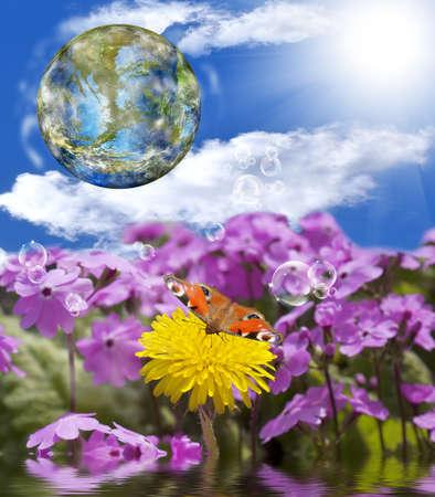 Beautiful green planet Earth photo