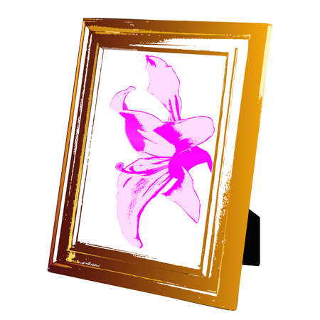lily vector: Vintage foto frame wooden and pink lily Vector