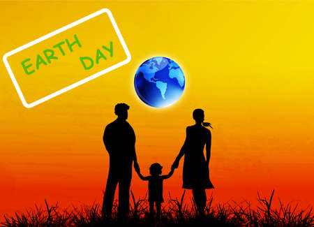 Happy Family and globe planet Earth Earth day Vector Vector