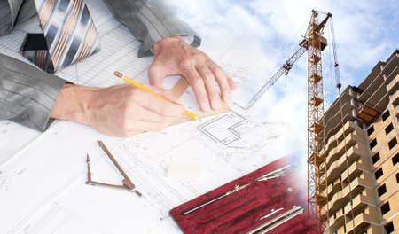 plan de accion: Ingeniería de diseño de edificios en construcción Foto de archivo