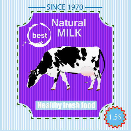 Tasty fresh delicious dairy food poster Vector illustration Vector