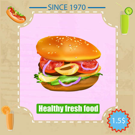 Tasty fresh delicious fast food poster  Vector illustration Vector