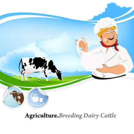 dairy cattle: Agriculture Breeding dairy Cattle background Illustration
