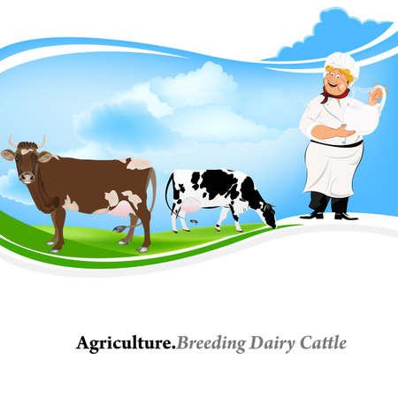 ewer: Agriculture Breeding dairy Cattle background Illustration