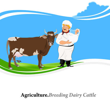 Agriculture Breeding dairy Cattle background Vector