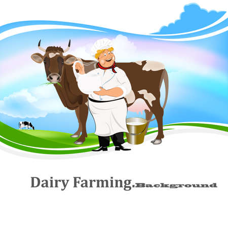 husbandry: Happy Milkman with a jug of milk and a cow on a green meadow Illustration