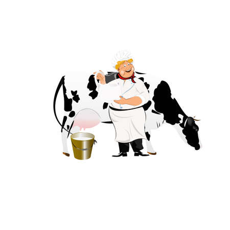 Happy Milkman with a jug of milk and a cow photo