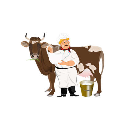 milk pail: Happy Milkman with a jug of milk and a cow