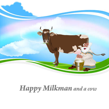 milkman: Old Grandpa milkman and a cow