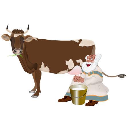 milkman: Old Grandpa milkman and a cow