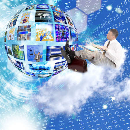 internet search: Businessman on the cloud Internet concept Stock Photo