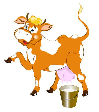 bucketful: A cheerful cow and a bucket of fresh milk