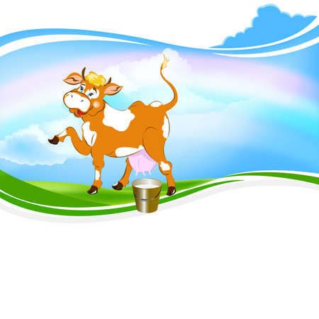 A cheerful cow and a bucket of fresh milk on a green meadow Vector