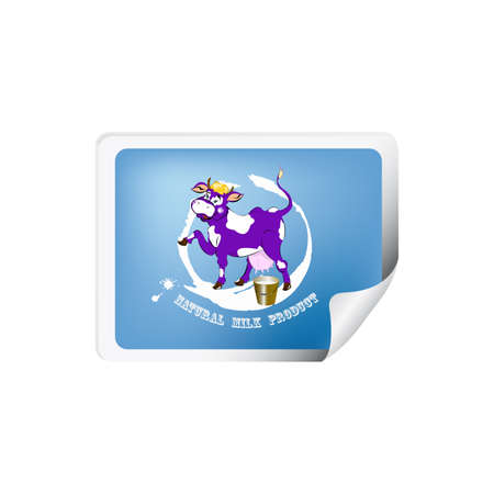 milk production: Label dairy products A cheerful purple cow and a bucket of fresh milk
