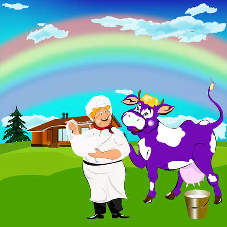 milkman: Cheerful milkman and purple cow witch bucket of fresh milk on a green meadow Stock Photo