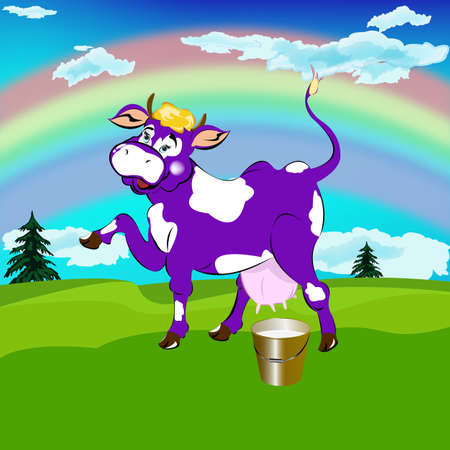 husbandry: Label dairy products A cheerful purple cow and a bucket of fresh milk on a high alpine meadow green Illustration