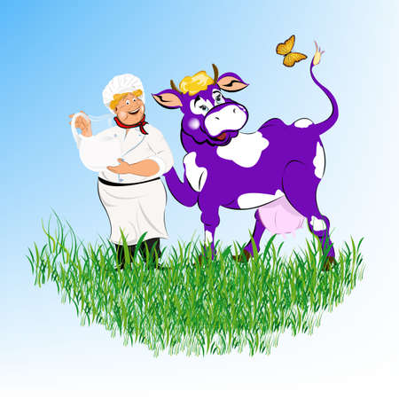 milkman: Label dairy products A cheerful milkman and cow