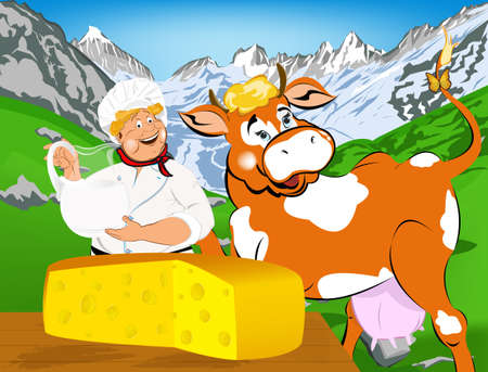 milkman: Label dairy products Cheese A cheerful milkman and cow on the high alpine meadows of green