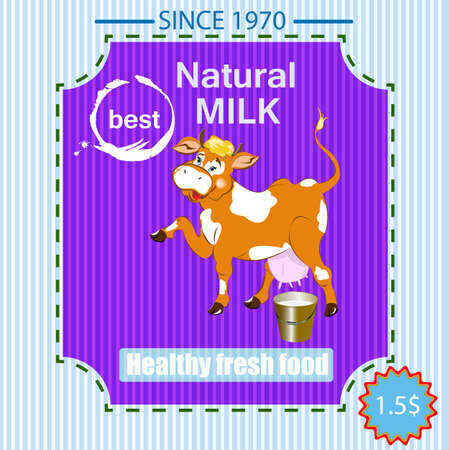 Label dairy products A fresh milk from cheerful cow Vector