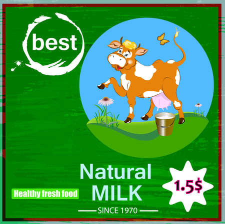 Sticker dairy products A fresh milk from cheerful cow Vector
