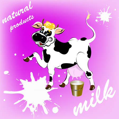 milk production: Label dairy products A cheerful cow