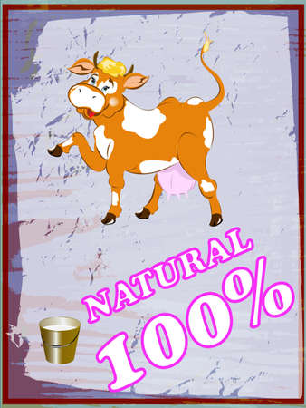 milk production: Sticker dairy products Vector abstract background