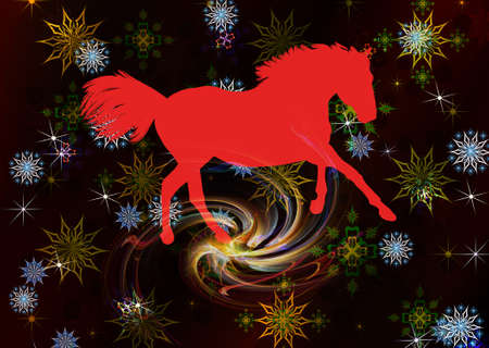 The New Year of the Horse Festive Christmas card Stock Photo - 22381482