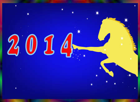 The New Year of the Horse Festive Christmas card Vector