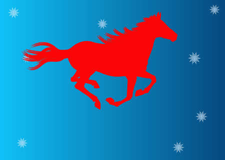 The New Year of the Horse Festive Christmas card Stock Photo - 22381411