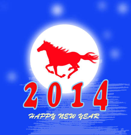 The New Year of the Horse Holiday vector card Stock Vector - 22381351